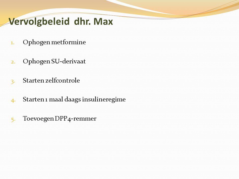 Vervolgbeleid dhr. Max 1. Ophogen metformine 2. Ophogen SU-derivaat 3. Starten zelfcontrole 4. Starten 1 maal daags insulineregime 5. Toevoegen DPP4-r