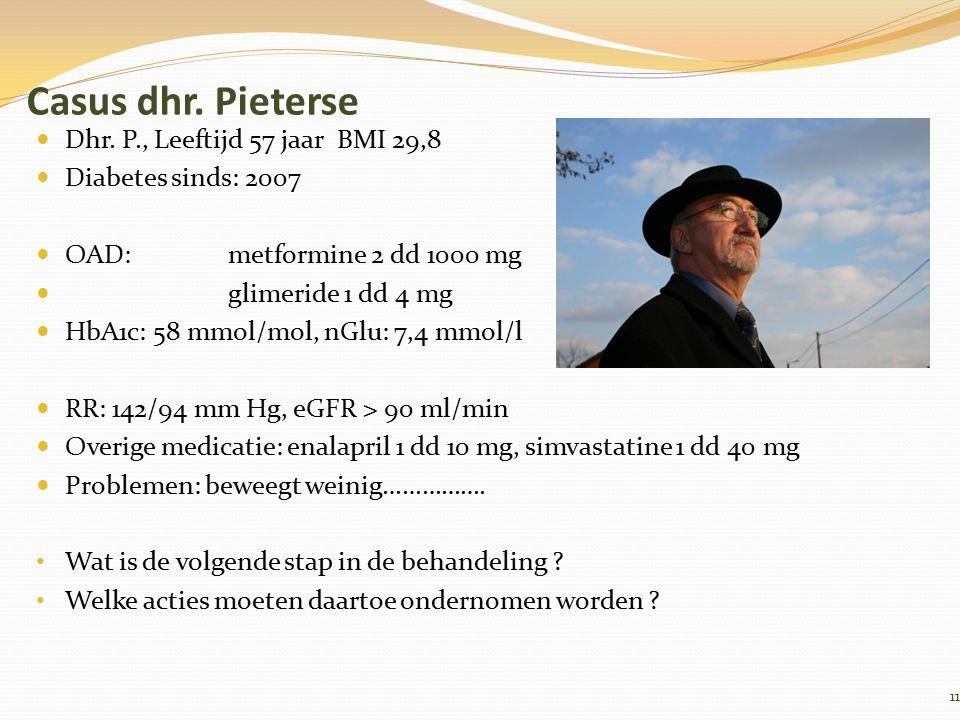 Casus dhr. Pieterse Dhr. P., Leeftijd 57 jaar BMI 29,8 Diabetes sinds: 2007 OAD: metformine 2 dd 1000 mg glimeride 1 dd 4 mg HbA1c: 58 mmol/mol, nGlu:
