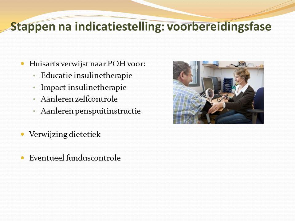 Stappen na indicatiestelling: voorbereidingsfase Huisarts verwijst naar POH voor: Educatie insulinetherapie Impact insulinetherapie Aanleren zelfcontr