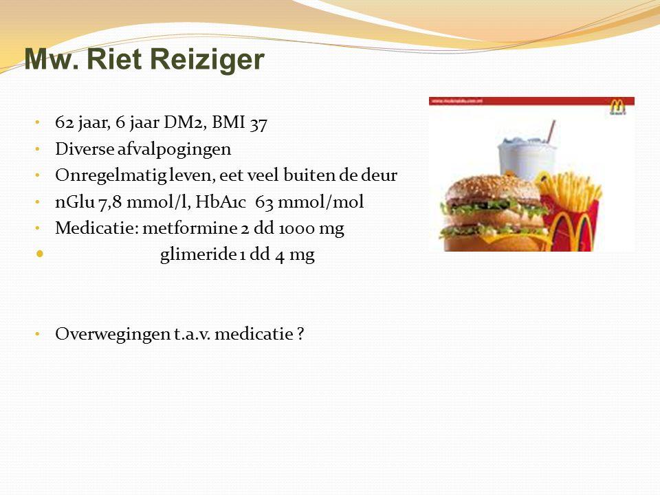 Mw. Riet Reiziger 62 jaar, 6 jaar DM2, BMI 37 Diverse afvalpogingen Onregelmatig leven, eet veel buiten de deur nGlu 7,8 mmol/l, HbA1c 63 mmol/mol Med