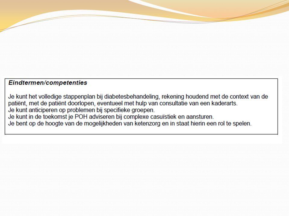 GLP1 analogen Exenatide Liraglutide Injecties dagelijks of wekelijks Daling van HbA1c van 11 mmol/mol (1.0) Bijwerkingen: misselijkheid, braken Geen hypoglycaemien Gewichtsreductie 2,5 – 5 kg - Verlaging van de bloedruk onafhankelijk van gewichtsreductie Cardioprotectief effect Vergoeding alleen bij BMI > 35 1 e recept door internist Geregistreerd voor gebruik in combinatie met metformine en/of SU-derivaat bij onvoldoende effect van deze middelen