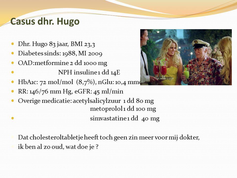 Casus dhr. Hugo Dhr. Hugo 83 jaar, BMI 23,3 Diabetes sinds: 1988, MI 2009 OAD:metformine 2 dd 1000 mg NPH insuline 1 dd 14E HbA1c: 72 mol/mol (8,7%),