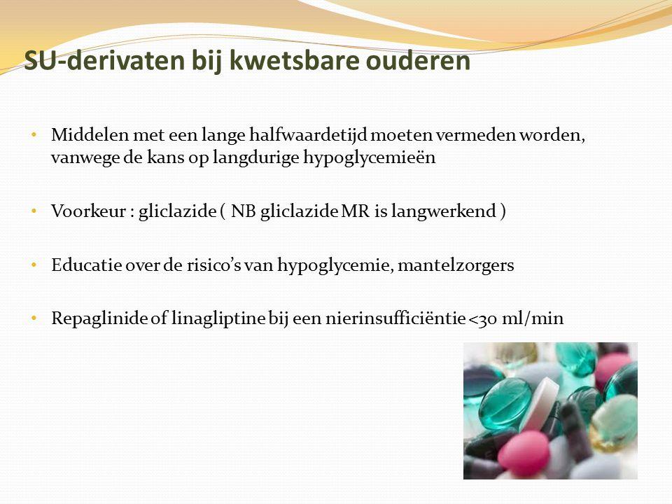 SU-derivaten bij kwetsbare ouderen Middelen met een lange halfwaardetijd moeten vermeden worden, vanwege de kans op langdurige hypoglycemieën Voorkeur