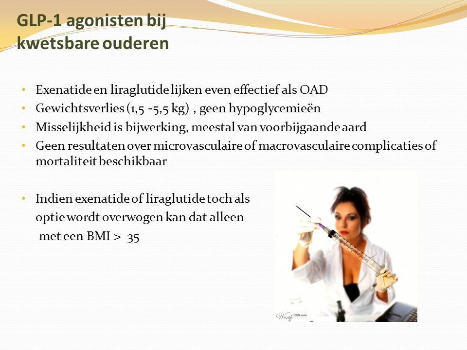 GLP-1 agonisten bij kwetsbare ouderen Exenatide en liraglutide lijken even effectief als OAD Gewichtsverlies (1,5 -5,5 kg), geen hypoglycemieën Missel