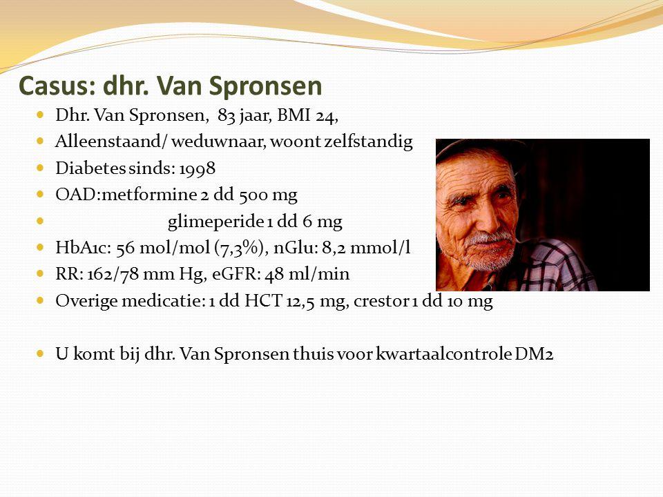 Casus: dhr. Van Spronsen Dhr. Van Spronsen, 83 jaar, BMI 24, Alleenstaand/ weduwnaar, woont zelfstandig Diabetes sinds: 1998 OAD:metformine 2 dd 500 m