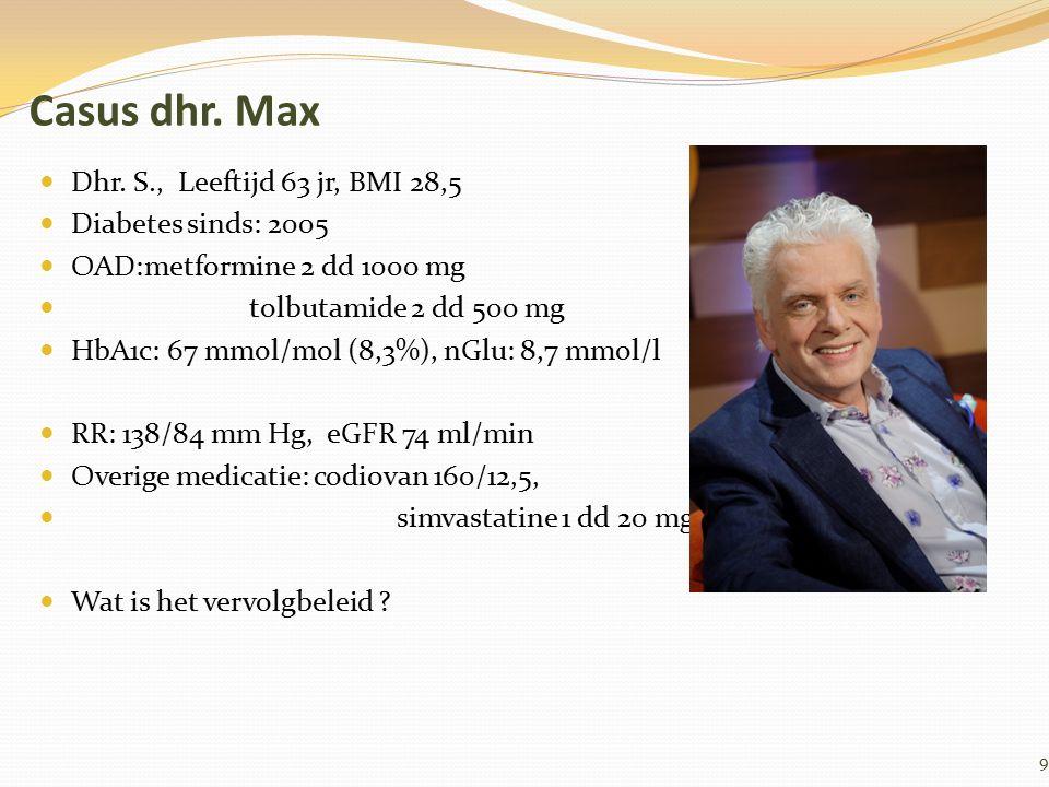 Casus dhr. Max Dhr. S., Leeftijd 63 jr, BMI 28,5 Diabetes sinds: 2005 OAD:metformine 2 dd 1000 mg tolbutamide 2 dd 500 mg HbA1c: 67 mmol/mol (8,3%), n
