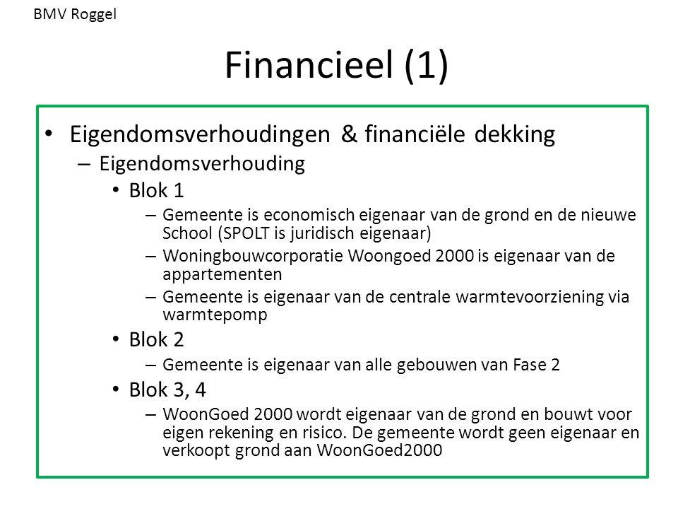 Financieel (1) Eigendomsverhoudingen & financiële dekking – Eigendomsverhouding Blok 1 – Gemeente is economisch eigenaar van de grond en de nieuwe Sch