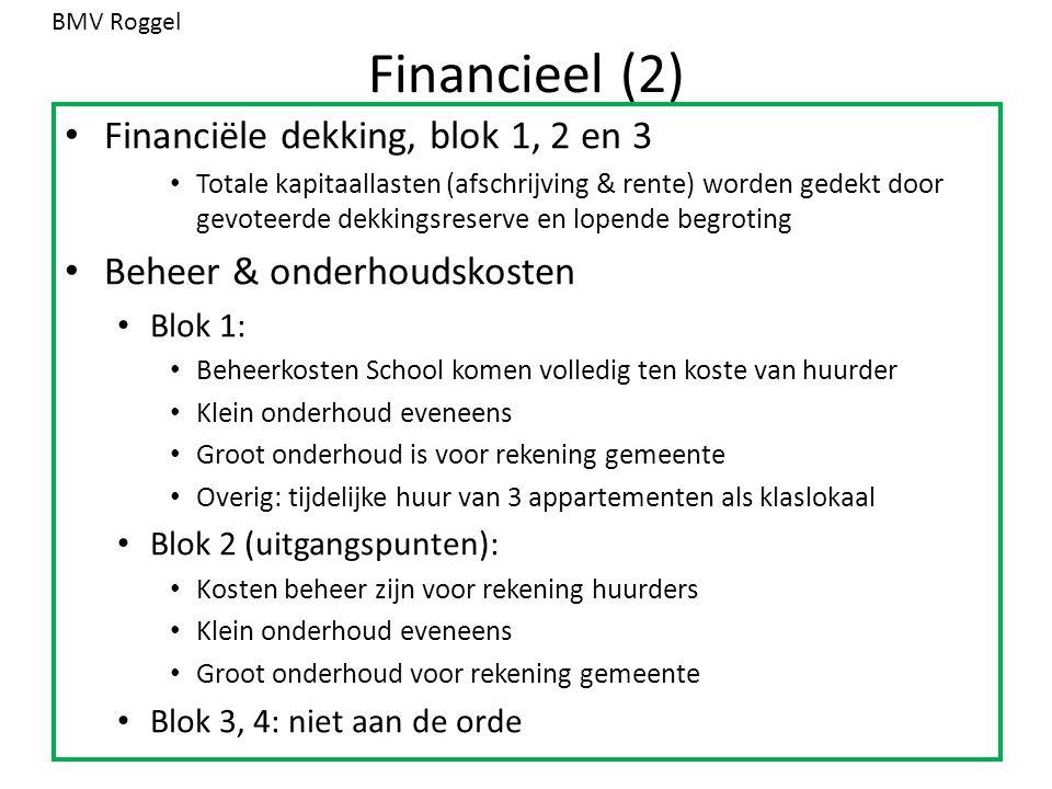 Financieel (2) Financiële dekking, blok 1, 2 en 3 Totale kapitaallasten (afschrijving & rente) worden gedekt door gevoteerde dekkingsreserve en lopend