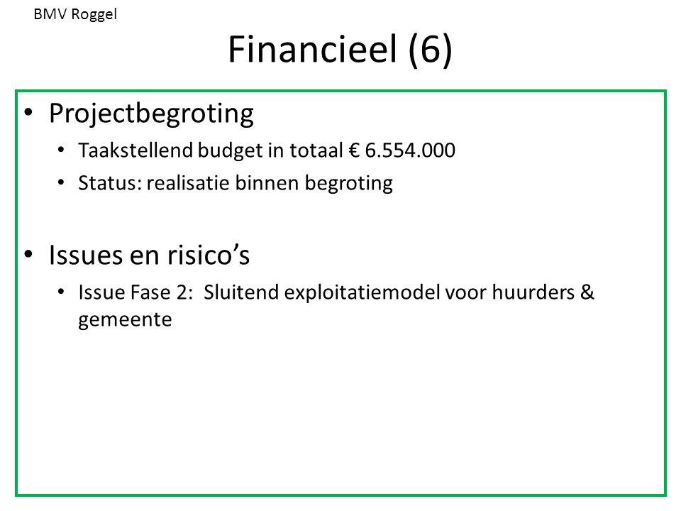 Financieel (6) Projectbegroting Taakstellend budget in totaal € 6.554.000 Status: realisatie binnen begroting Issues en risico's Issue Fase 2: Sluitend exploitatiemodel voor huurders & gemeente BMV Roggel