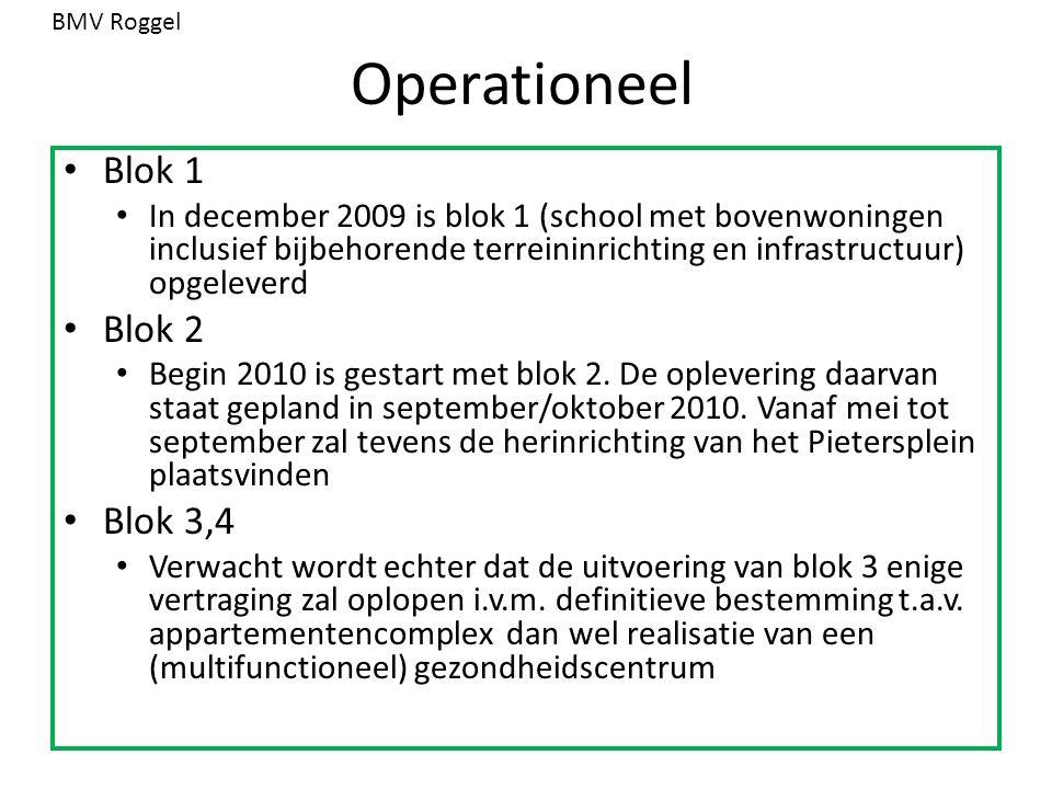 Operationeel Blok 1 In december 2009 is blok 1 (school met bovenwoningen inclusief bijbehorende terreininrichting en infrastructuur) opgeleverd Blok 2 Begin 2010 is gestart met blok 2.