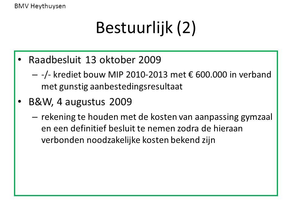 Bestuurlijk (2) Raadbesluit 13 oktober 2009 – -/- krediet bouw MIP 2010-2013 met € 600.000 in verband met gunstig aanbestedingsresultaat B&W, 4 august