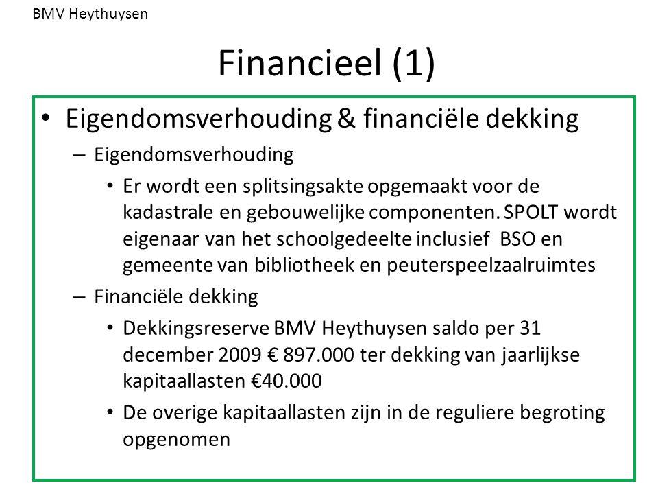 Financieel (1) Eigendomsverhouding & financiële dekking – Eigendomsverhouding Er wordt een splitsingsakte opgemaakt voor de kadastrale en gebouwelijke componenten.