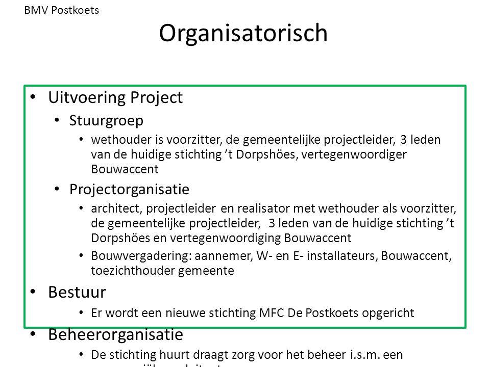 Organisatorisch Uitvoering Project Stuurgroep wethouder is voorzitter, de gemeentelijke projectleider, 3 leden van de huidige stichting 't Dorpshöes,