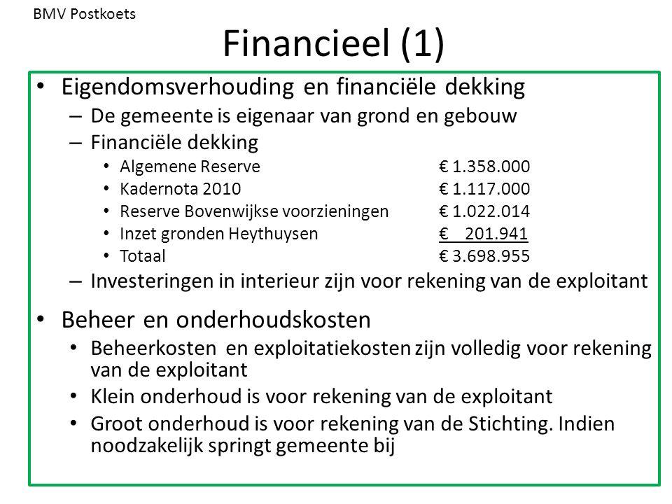 Financieel (1) Eigendomsverhouding en financiële dekking – De gemeente is eigenaar van grond en gebouw – Financiële dekking Algemene Reserve€ 1.358.00