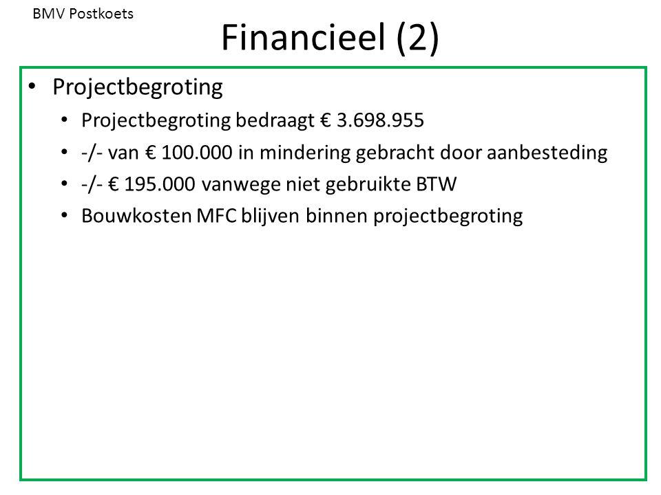 Financieel (2) Projectbegroting Projectbegroting bedraagt € 3.698.955 -/- van € 100.000 in mindering gebracht door aanbesteding -/- € 195.000 vanwege niet gebruikte BTW Bouwkosten MFC blijven binnen projectbegroting BMV Postkoets