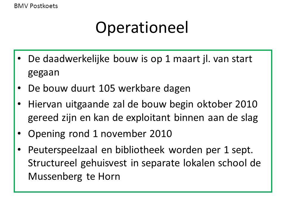 Operationeel De daadwerkelijke bouw is op 1 maart jl. van start gegaan De bouw duurt 105 werkbare dagen Hiervan uitgaande zal de bouw begin oktober 20