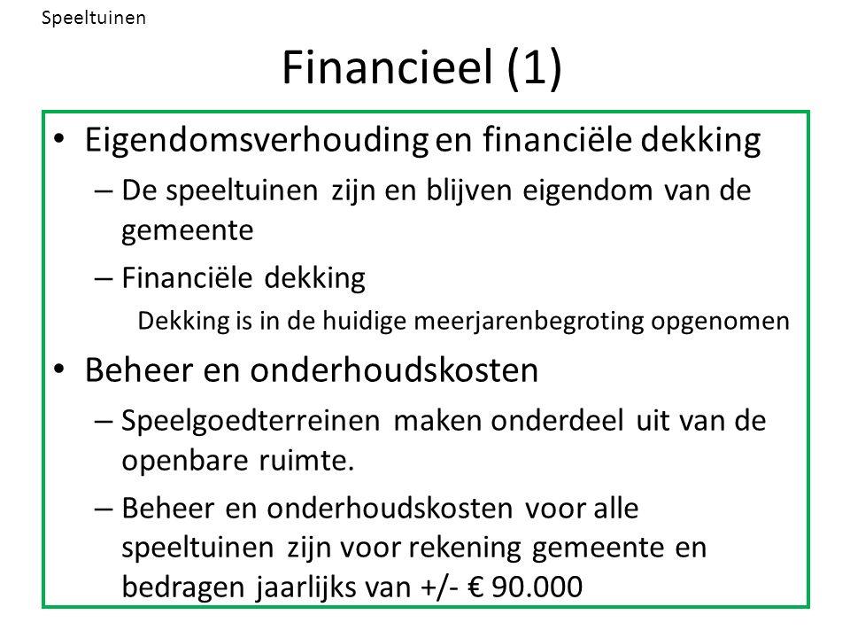 Financieel (1) Eigendomsverhouding en financiële dekking – De speeltuinen zijn en blijven eigendom van de gemeente – Financiële dekking Dekking is in