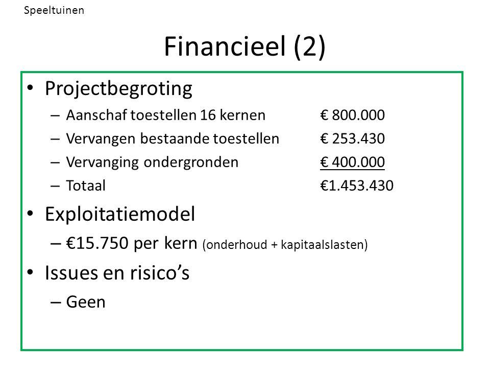Financieel (2) Projectbegroting – Aanschaf toestellen 16 kernen€ 800.000 – Vervangen bestaande toestellen€ 253.430 – Vervanging ondergronden€ 400.000 – Totaal€1.453.430 Exploitatiemodel – €15.750 per kern (onderhoud + kapitaalslasten) Issues en risico's – Geen Speeltuinen