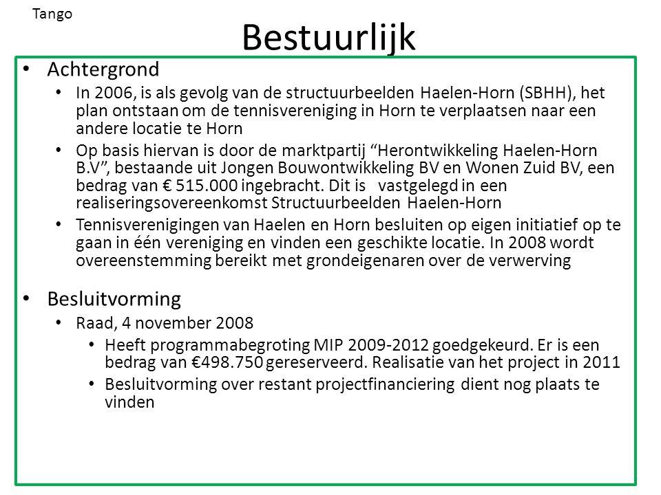 Bestuurlijk Achtergrond In 2006, is als gevolg van de structuurbeelden Haelen-Horn (SBHH), het plan ontstaan om de tennisvereniging in Horn te verplaatsen naar een andere locatie te Horn Op basis hiervan is door de marktpartij Herontwikkeling Haelen-Horn B.V , bestaande uit Jongen Bouwontwikkeling BV en Wonen Zuid BV, een bedrag van € 515.000 ingebracht.