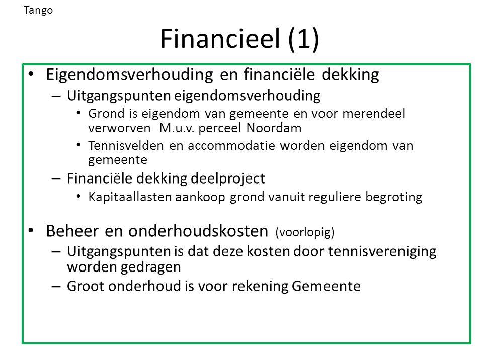 Financieel (1) Eigendomsverhouding en financiële dekking – Uitgangspunten eigendomsverhouding Grond is eigendom van gemeente en voor merendeel verworv