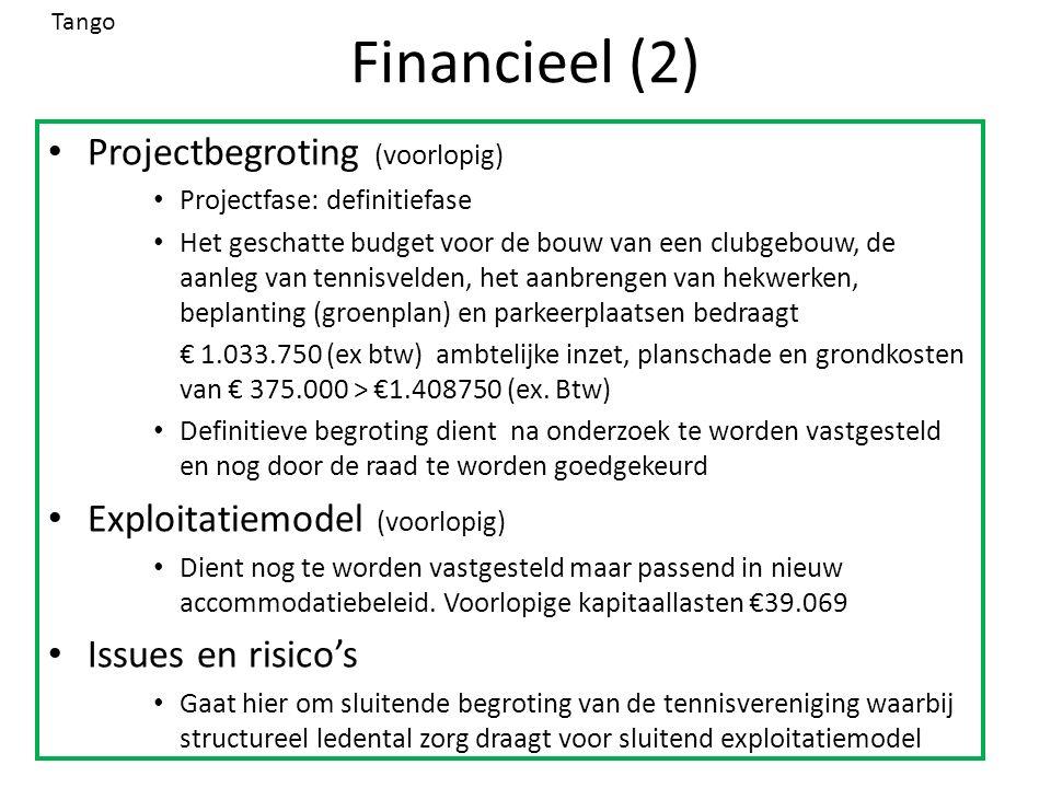 Financieel (2) Projectbegroting (voorlopig) Projectfase: definitiefase Het geschatte budget voor de bouw van een clubgebouw, de aanleg van tennisvelden, het aanbrengen van hekwerken, beplanting (groenplan) en parkeerplaatsen bedraagt € 1.033.750 (ex btw) ambtelijke inzet, planschade en grondkosten van € 375.000 > €1.408750 (ex.