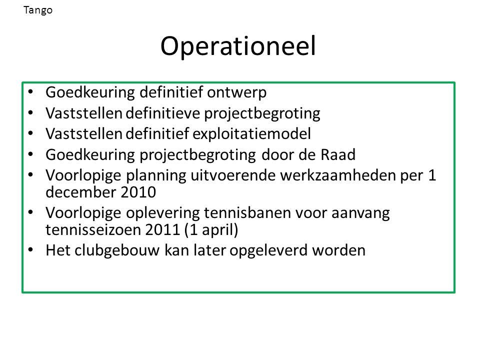 Operationeel Goedkeuring definitief ontwerp Vaststellen definitieve projectbegroting Vaststellen definitief exploitatiemodel Goedkeuring projectbegrot