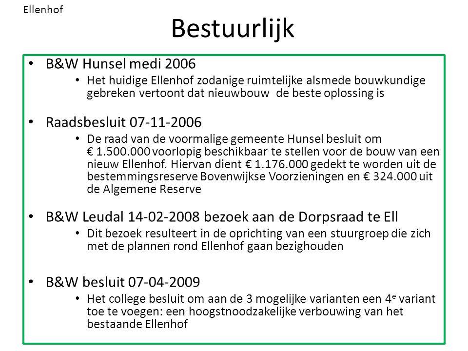 Bestuurlijk B&W Hunsel medi 2006 Het huidige Ellenhof zodanige ruimtelijke alsmede bouwkundige gebreken vertoont dat nieuwbouw de beste oplossing is Raadsbesluit 07-11-2006 De raad van de voormalige gemeente Hunsel besluit om € 1.500.000 voorlopig beschikbaar te stellen voor de bouw van een nieuw Ellenhof.