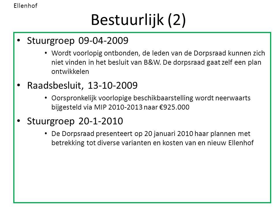 Bestuurlijk (2) Stuurgroep 09-04-2009 Wordt voorlopig ontbonden, de leden van de Dorpsraad kunnen zich niet vinden in het besluit van B&W.