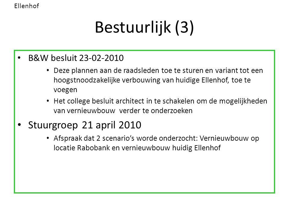 Bestuurlijk (3) B&W besluit 23-02-2010 Deze plannen aan de raadsleden toe te sturen en variant tot een hoogstnoodzakelijke verbouwing van huidige Elle