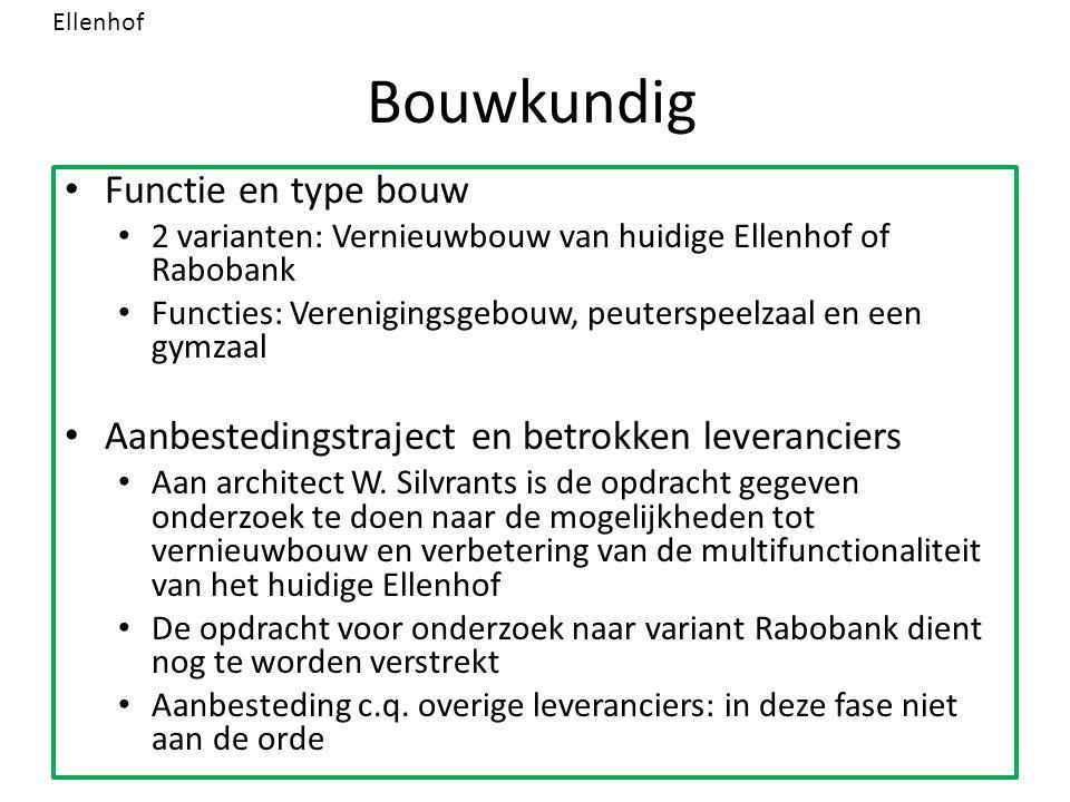 Bouwkundig Functie en type bouw 2 varianten: Vernieuwbouw van huidige Ellenhof of Rabobank Functies: Verenigingsgebouw, peuterspeelzaal en een gymzaal