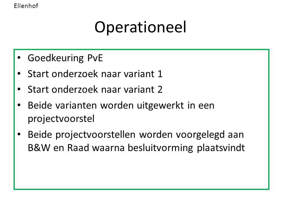 Operationeel Goedkeuring PvE Start onderzoek naar variant 1 Start onderzoek naar variant 2 Beide varianten worden uitgewerkt in een projectvoorstel Beide projectvoorstellen worden voorgelegd aan B&W en Raad waarna besluitvorming plaatsvindt Ellenhof