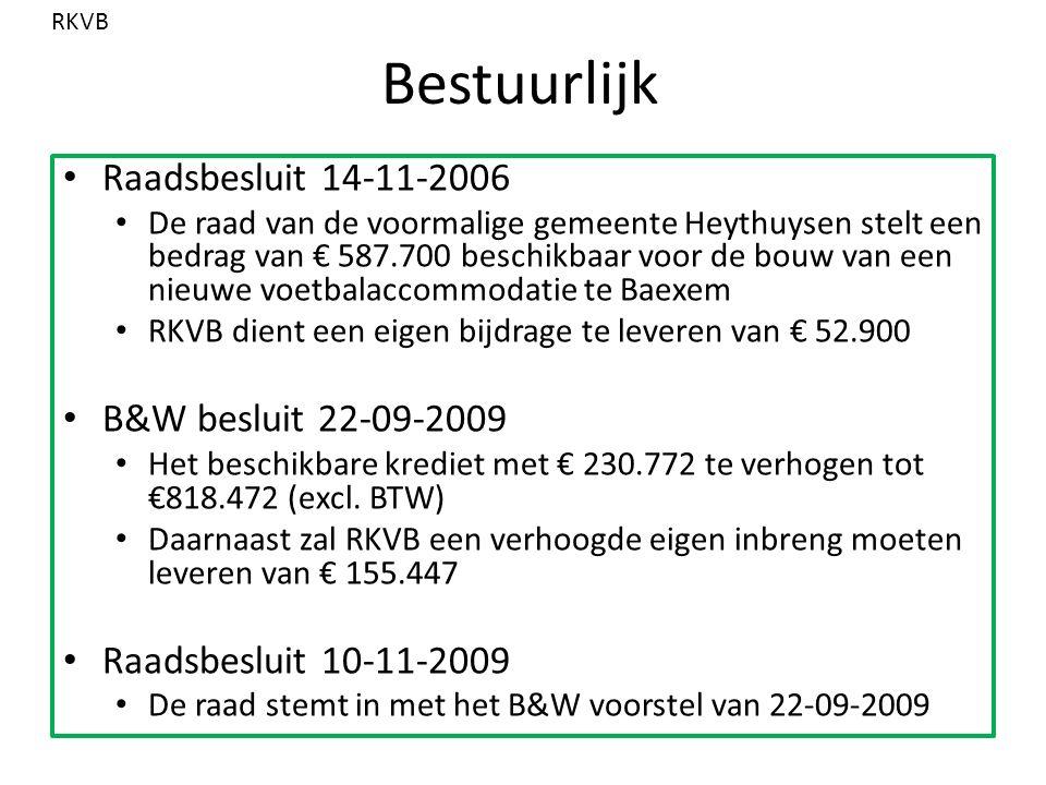 Bestuurlijk Raadsbesluit 14-11-2006 De raad van de voormalige gemeente Heythuysen stelt een bedrag van € 587.700 beschikbaar voor de bouw van een nieuwe voetbalaccommodatie te Baexem RKVB dient een eigen bijdrage te leveren van € 52.900 B&W besluit 22-09-2009 Het beschikbare krediet met € 230.772 te verhogen tot €818.472 (excl.