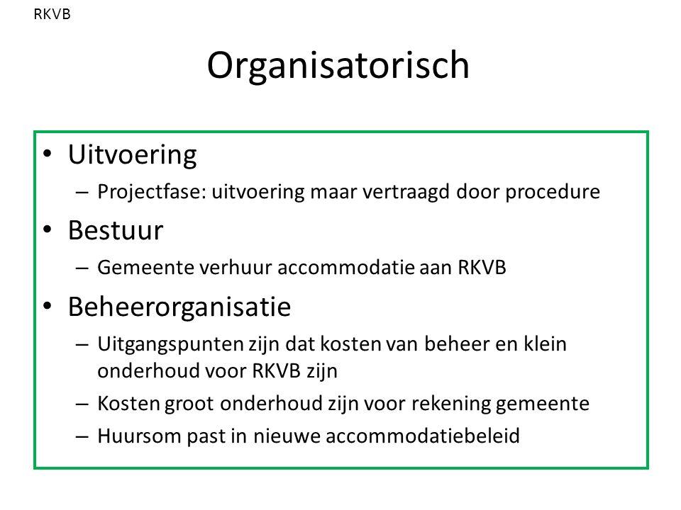 Organisatorisch Uitvoering – Projectfase: uitvoering maar vertraagd door procedure Bestuur – Gemeente verhuur accommodatie aan RKVB Beheerorganisatie