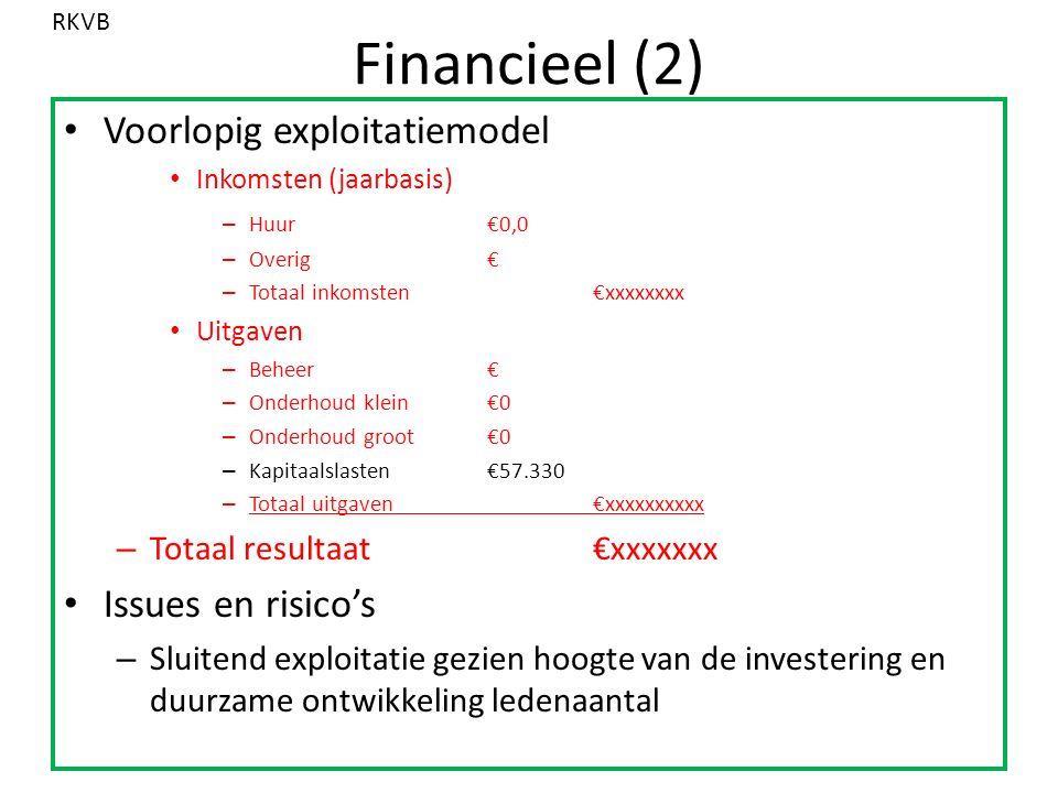 Financieel (2) Voorlopig exploitatiemodel Inkomsten (jaarbasis) – Huur€0,0 – Overig€ – Totaal inkomsten€xxxxxxxx Uitgaven – Beheer€ – Onderhoud klein€0 – Onderhoud groot€0 – Kapitaalslasten€57.330 – Totaal uitgaven€xxxxxxxxxx – Totaal resultaat€xxxxxxx Issues en risico's – Sluitend exploitatie gezien hoogte van de investering en duurzame ontwikkeling ledenaantal RKVB