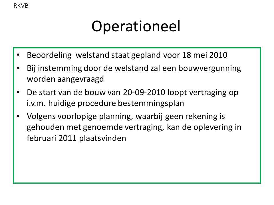 Operationeel Beoordeling welstand staat gepland voor 18 mei 2010 Bij instemming door de welstand zal een bouwvergunning worden aangevraagd De start van de bouw van 20-09-2010 loopt vertraging op i.v.m.