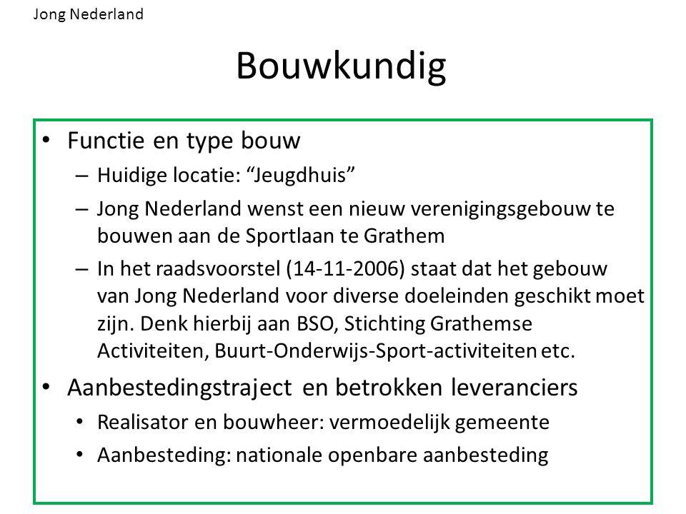 """Bouwkundig Functie en type bouw – Huidige locatie: """"Jeugdhuis"""" – Jong Nederland wenst een nieuw verenigingsgebouw te bouwen aan de Sportlaan te Grathe"""