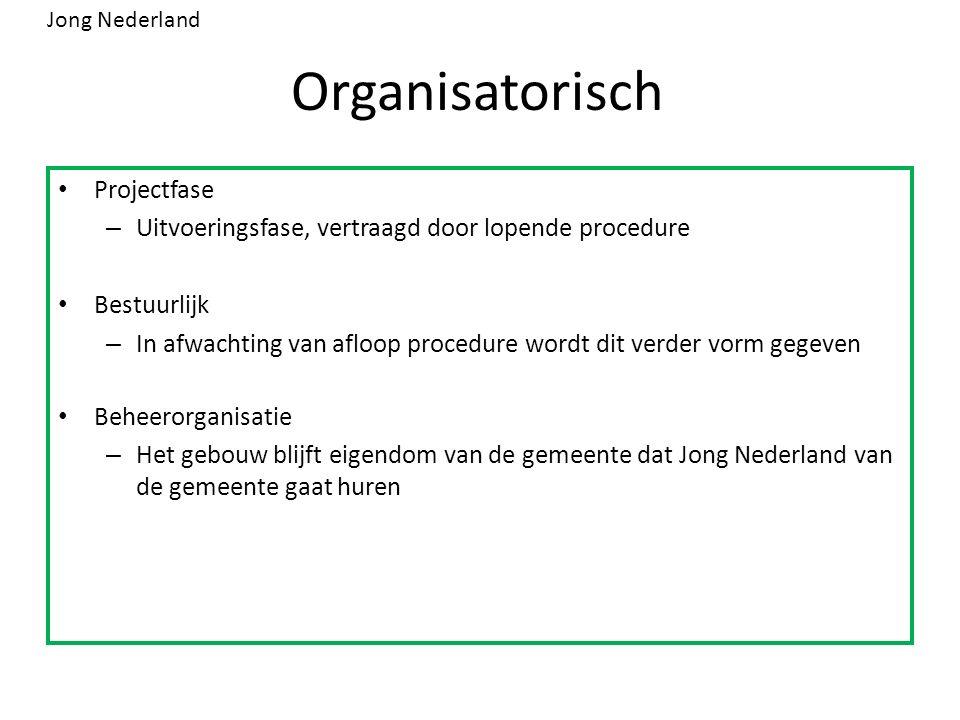 Organisatorisch Projectfase – Uitvoeringsfase, vertraagd door lopende procedure Bestuurlijk – In afwachting van afloop procedure wordt dit verder vorm