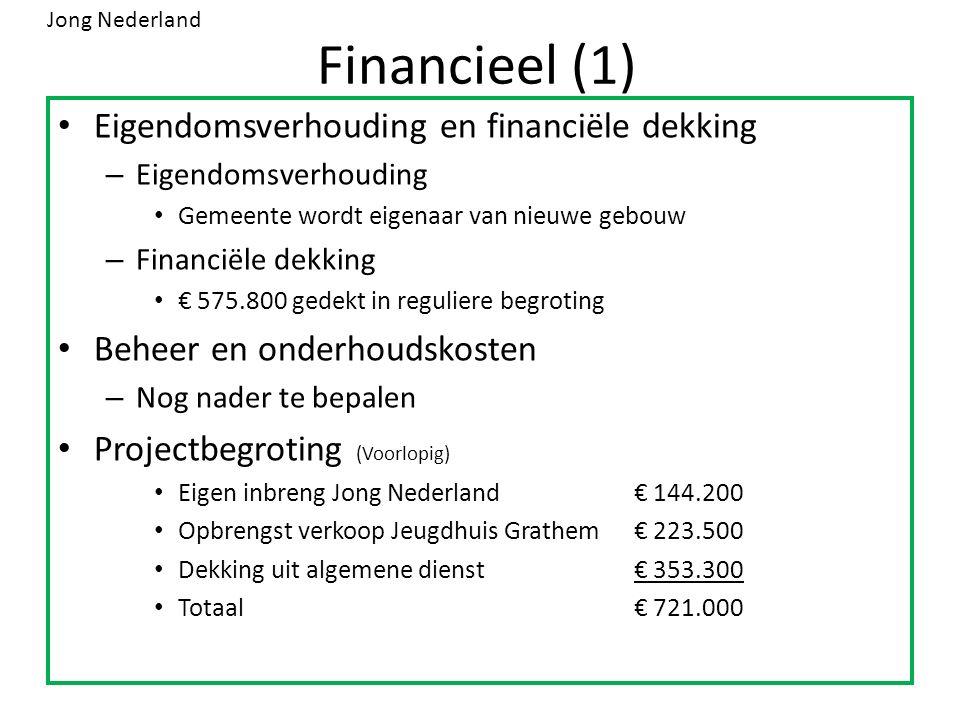 Financieel (1) Eigendomsverhouding en financiële dekking – Eigendomsverhouding Gemeente wordt eigenaar van nieuwe gebouw – Financiële dekking € 575.800 gedekt in reguliere begroting Beheer en onderhoudskosten – Nog nader te bepalen Projectbegroting (Voorlopig) Eigen inbreng Jong Nederland€ 144.200 Opbrengst verkoop Jeugdhuis Grathem€ 223.500 Dekking uit algemene dienst€ 353.300 Totaal€ 721.000 Jong Nederland
