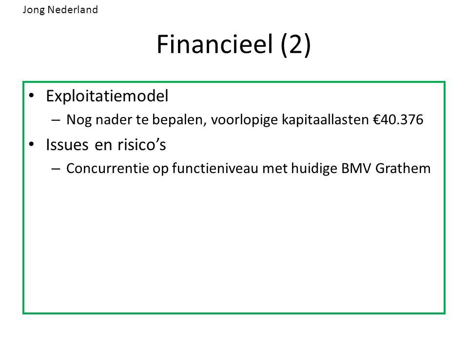 Financieel (2) Exploitatiemodel – Nog nader te bepalen, voorlopige kapitaallasten €40.376 Issues en risico's – Concurrentie op functieniveau met huidige BMV Grathem Jong Nederland