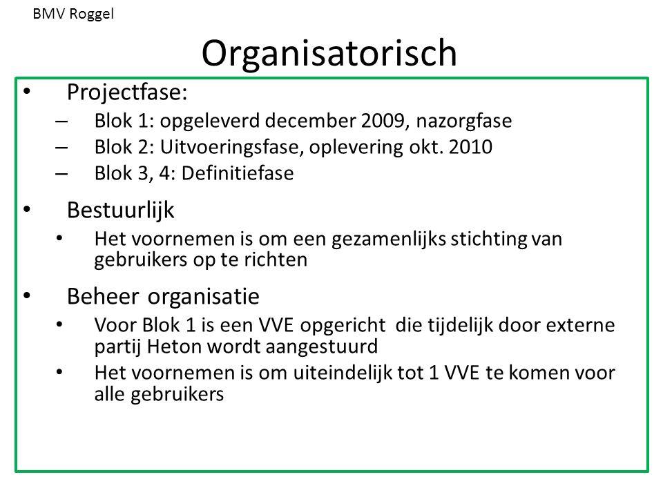 Organisatorisch Projectfase: – Blok 1: opgeleverd december 2009, nazorgfase – Blok 2: Uitvoeringsfase, oplevering okt. 2010 – Blok 3, 4: Definitiefase