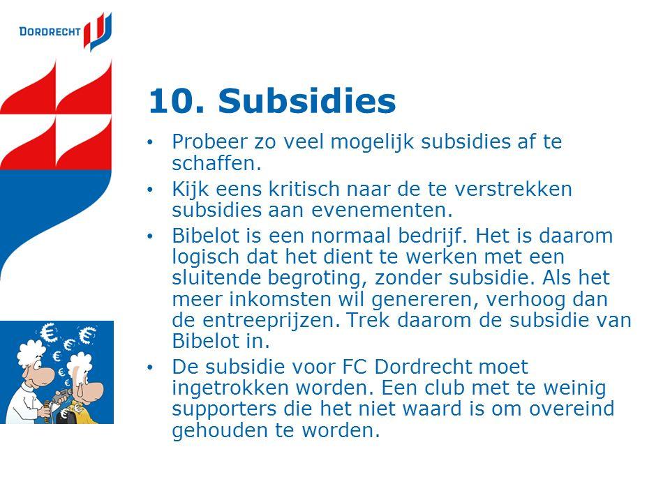 10. Subsidies Probeer zo veel mogelijk subsidies af te schaffen.