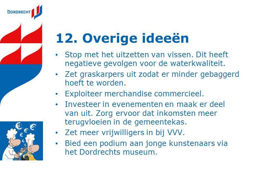 12. Overige ideeën Stop met het uitzetten van vissen.