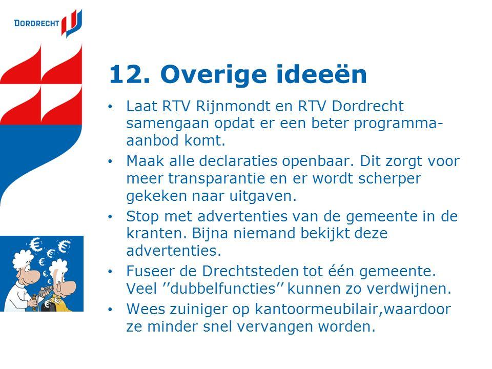 12. Overige ideeën Laat RTV Rijnmondt en RTV Dordrecht samengaan opdat er een beter programma- aanbod komt. Maak alle declaraties openbaar. Dit zorgt