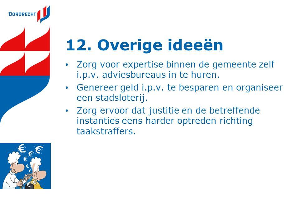 12. Overige ideeën Zorg voor expertise binnen de gemeente zelf i.p.v.