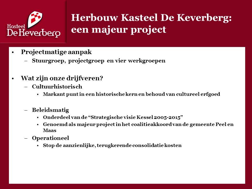 Herbouw Kasteel De Keverberg: een majeur project Projectmatige aanpak –Stuurgroep, projectgroep en vier werkgroepen Wat zijn onze drijfveren.