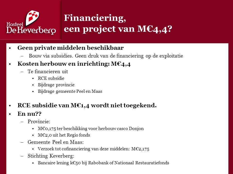 Financiering, een project van M€4,4. Geen private middelen beschikbaar – Bouw via subsidies.