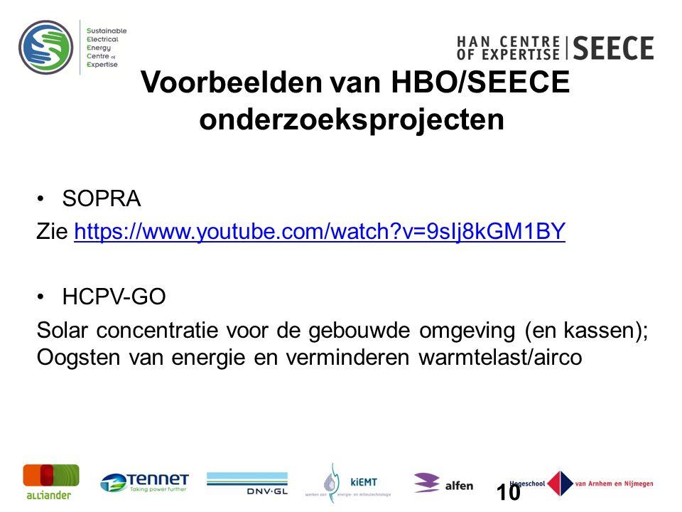 Voorbeelden van HBO/SEECE onderzoeksprojecten SOPRA Zie https://www.youtube.com/watch v=9sIj8kGM1BYhttps://www.youtube.com/watch v=9sIj8kGM1BY HCPV-GO Solar concentratie voor de gebouwde omgeving (en kassen); Oogsten van energie en verminderen warmtelast/airco 10