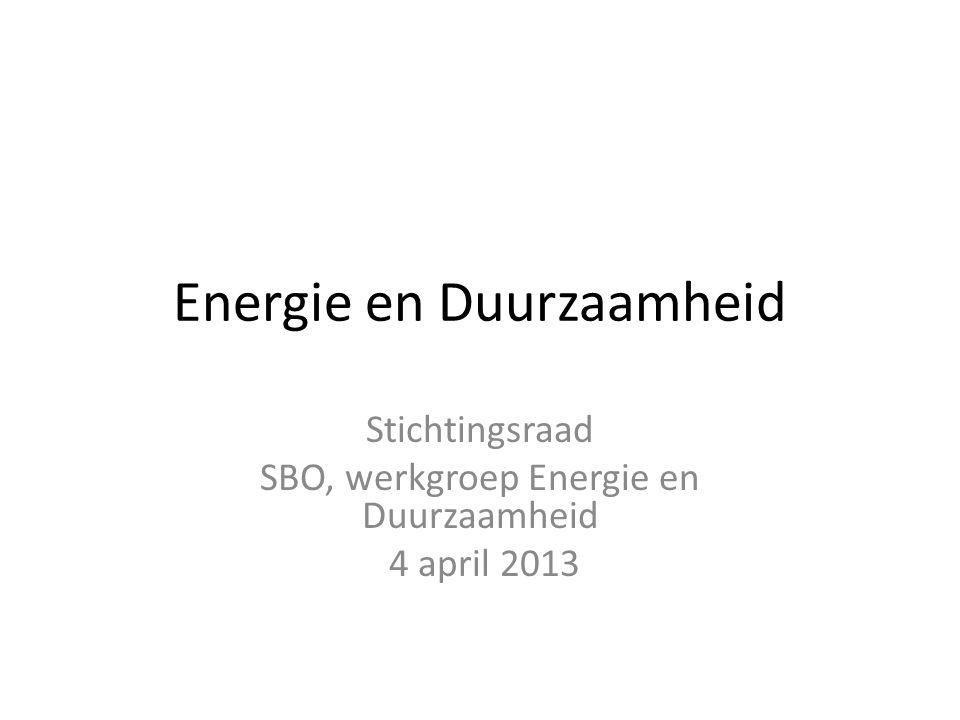 Energie en Duurzaamheid Stichtingsraad SBO, werkgroep Energie en Duurzaamheid 4 april 2013