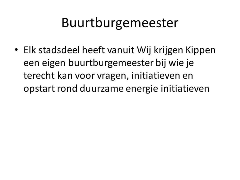 Buurtburgemeester Elk stadsdeel heeft vanuit Wij krijgen Kippen een eigen buurtburgemeester bij wie je terecht kan voor vragen, initiatieven en opstart rond duurzame energie initiatieven