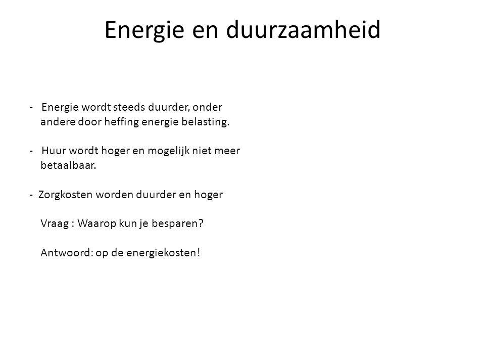 Energie en duurzaamheid - Energie wordt steeds duurder, onder andere door heffing energie belasting. - Huur wordt hoger en mogelijk niet meer betaalba